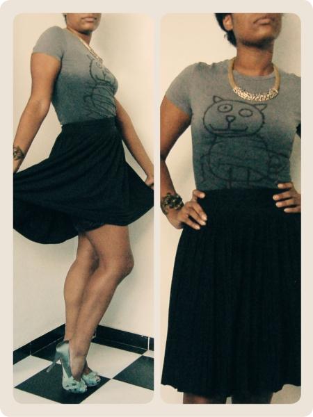 T-shirt and skirt, Mango; Necklace and bracelet, Arf; Peep toe, Zara || Camiseta e saia, Mango; Colar e bracelete, Arf; Peep toe, Zara