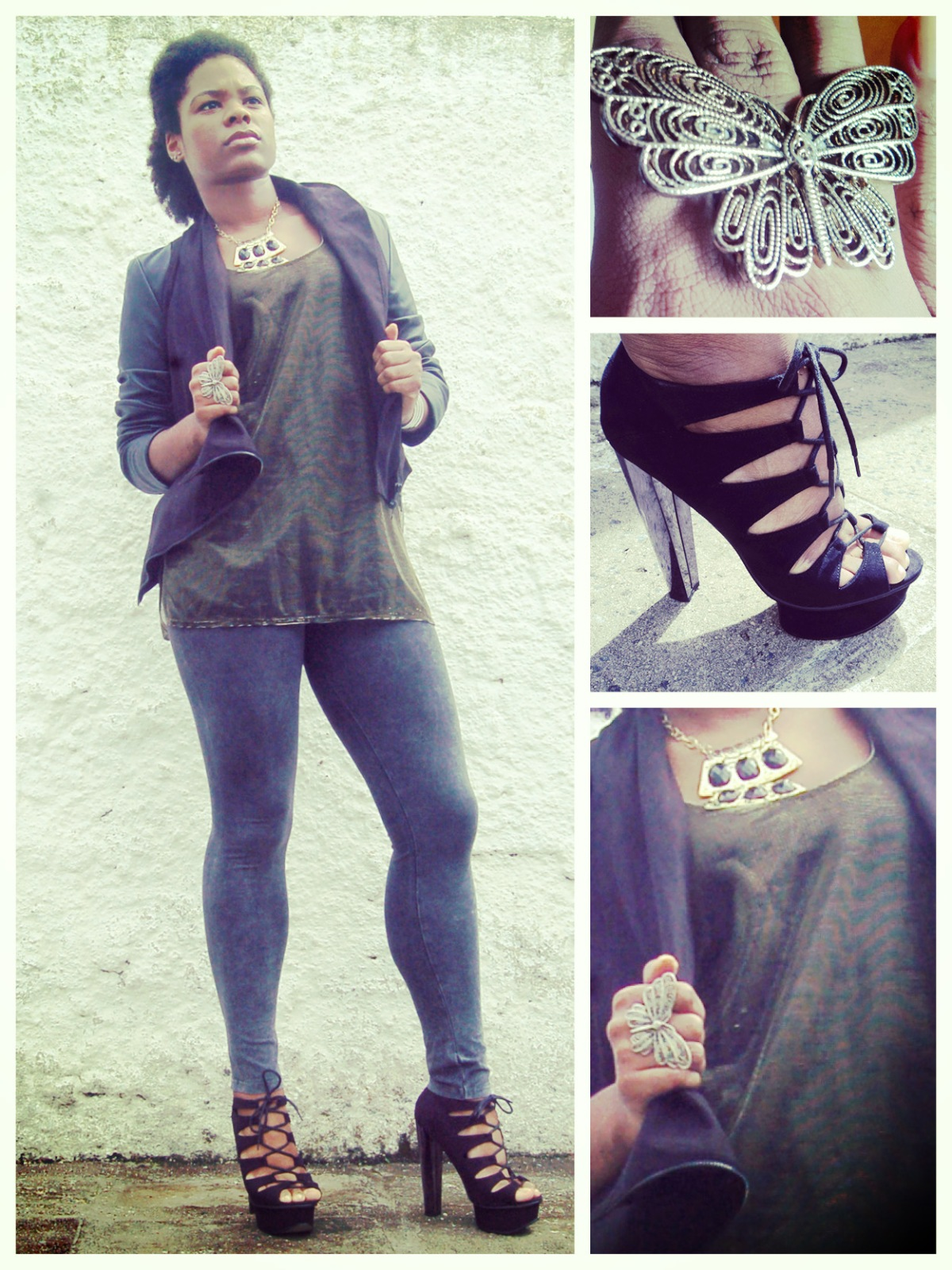 Jacket, Romwe; Top and Shoes, ASOS; Leggings, Zara; Necklace, archive; Ring, H&M || Jaqueta, Romwe; Blusa e Sapato, ASOS; Leggings, Zara; Colar, arquivo; Anel, H&M