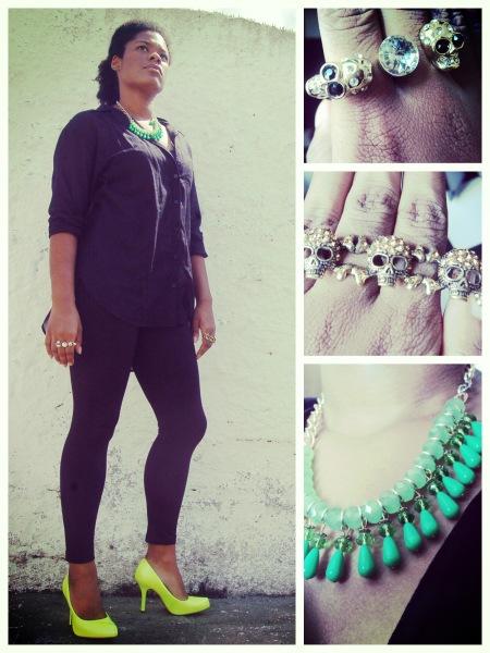 Shirt and leggins, H&M; Necklace and rings, archive; Shoes, Vizzano || Camisa e leggins, H&M; Colar e anéis, arquivo; Sapato, Vizzano