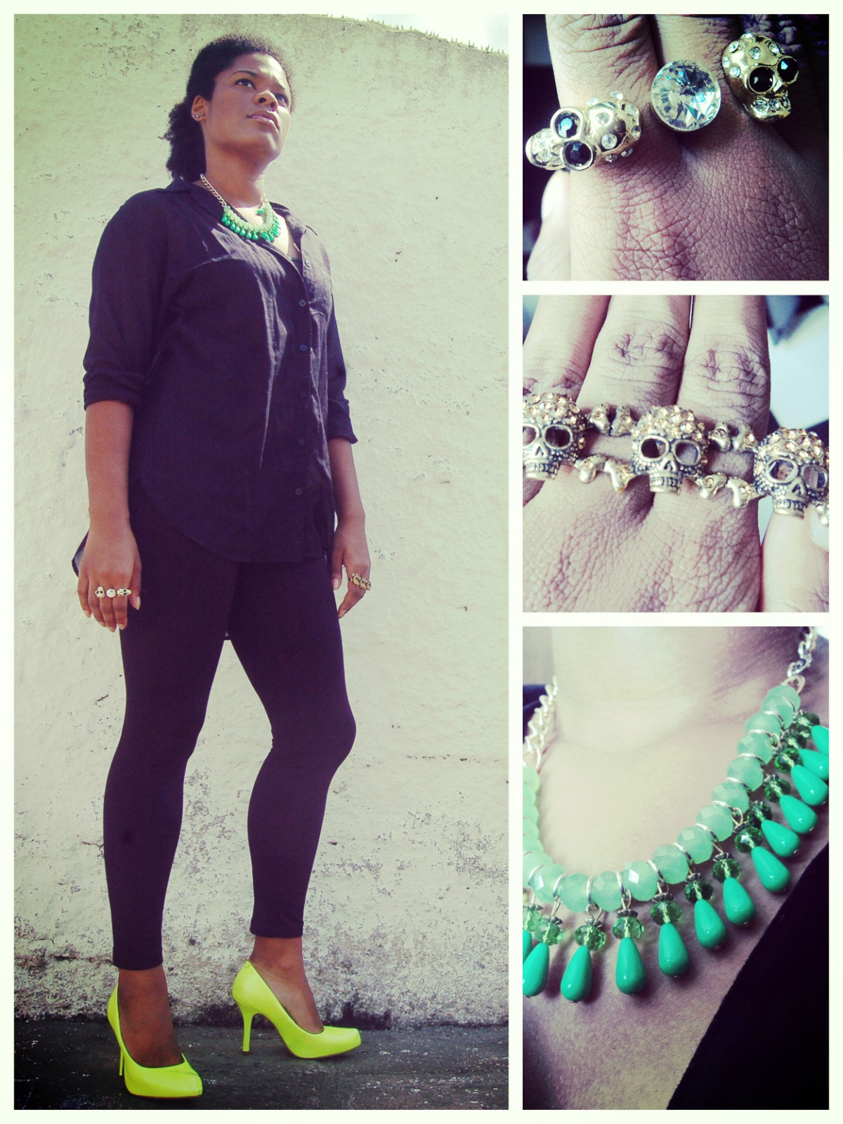 Shirt and leggins, H&M; Necklace and rings, archive; Shoes, Vizzano || Camisa e leggins, H&M; Colar e anéis, arquivo; Sapato, Vizzano