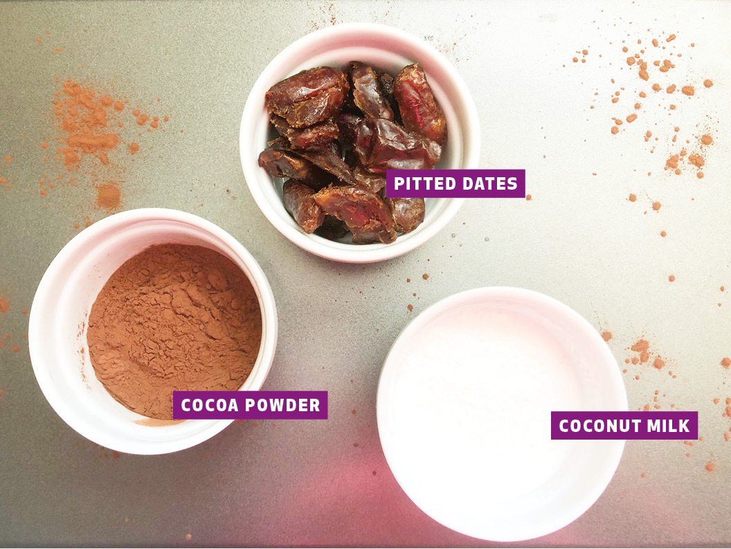 Cocoa powder, pitted dates, and coconut milk